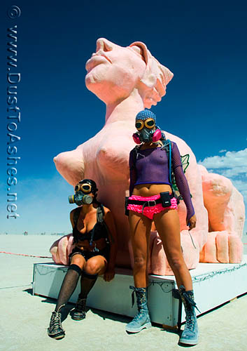 Pink Sphinx and burning man girls