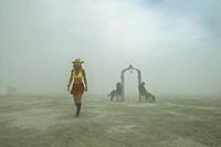 People in desert garden