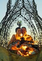 Welded fireplace in front of Burning Man Women