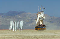 Sailboat criusing the desert during Burning Man fun