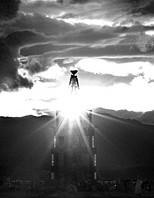Black and white photos of Burning Man festival