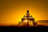 Burning man temple silhouette