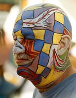 Body painted head of man