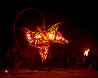 Seven Sisters by the Flaming Lotus Girls fire art welded sculpture