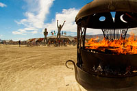 Fire place on main burning man promenade