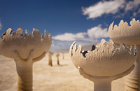 Surreal art structure in Nevada desert