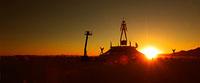 Building the Burning Man in desert