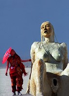 Burning Man sculpture of females Sirens by Deirdre de Franceaux
