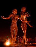 Mother and child metal art made of recycled materials