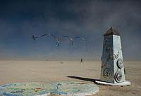 Burning Man kite flying in dust storm