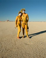 Couple painted in yellow color