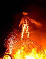 Burning Man in fire flames