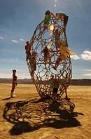 Steel welded irregular art shape in desert