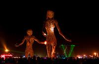Party after man burned around passage art sculpture