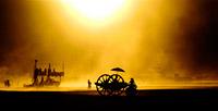 Dusty sunset in Nevada desert