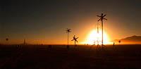 Sunrise over the star field art intstallation