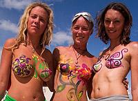 3 body painted girls
