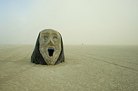 Huge mask in the desert