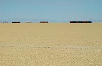 Lines of toilets in empty desert
