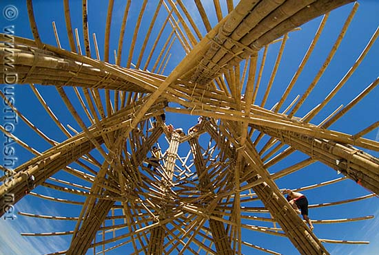 Massive bamboo sculpture made of huge bamboo sticks