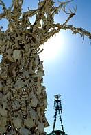 Bone Tree with the silhouette of Burning Man edifice