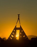 Silhouettes of Pyramid base holding the Man