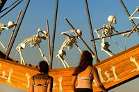 Women watching moving skeletons of Charon