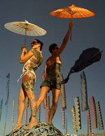 Women posing with umbrellas