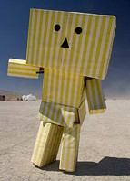 Burning Man costume made of cardboard boxes