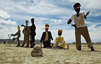 Dressed plastic figurines of people statues
