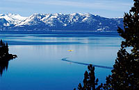 Winter image of Lake Tahoe from Nevada side