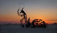 Metal Ladybug art sculpture