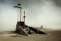 Sunken Boat in Desert