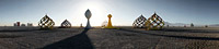 Futuristic domes and trees art sculptures in desert