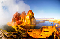 Water cascades of natural springs in Nevada desert