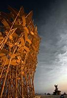 Wood art installation of flying birds