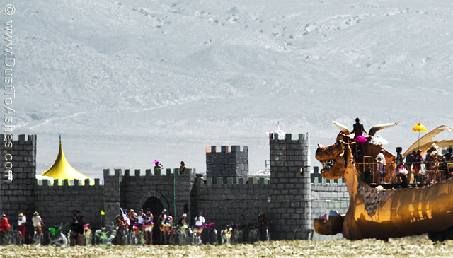 Celtic fortress theme camp at Burning Man festival