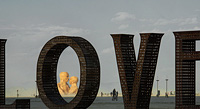 Welded art of LOVE giant metal letters