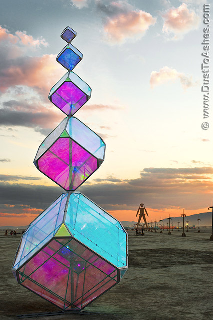 Pillar of prisms art installation