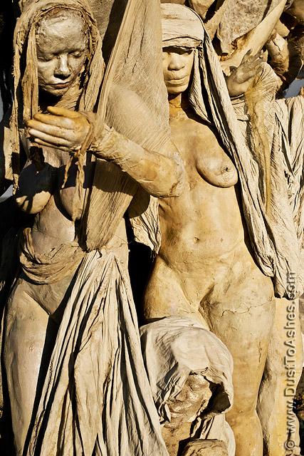 Very realistic sculpture of women torsos