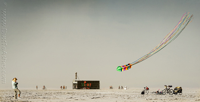 Flying Kites in desert