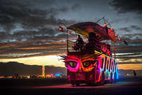 Neon Bus covered with colorful LED lights