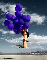Flying away with balloons