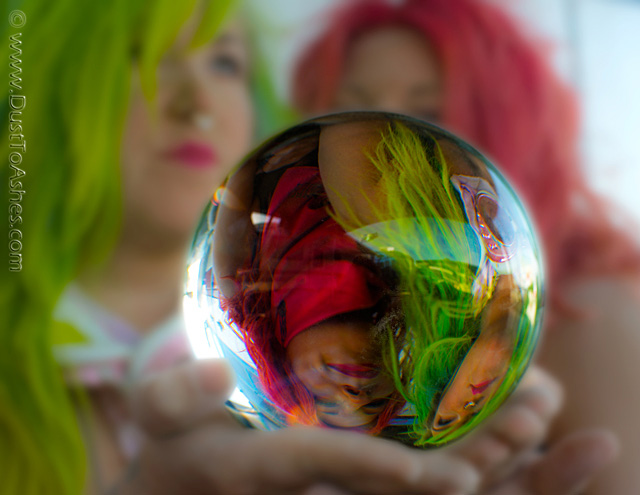 Girls looking into the crystal ball