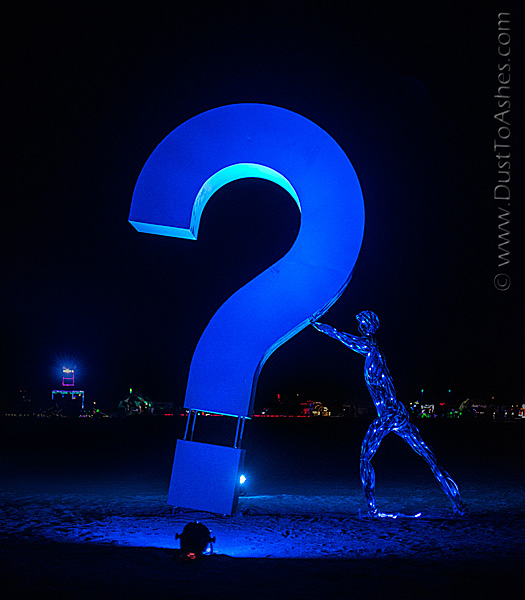 Man holding the question mark