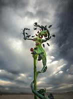 Alien against the stormy sky