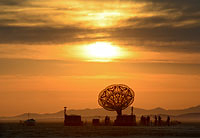 Giant sculpture of the Granny Gramophone at the perimeter of Burning Man