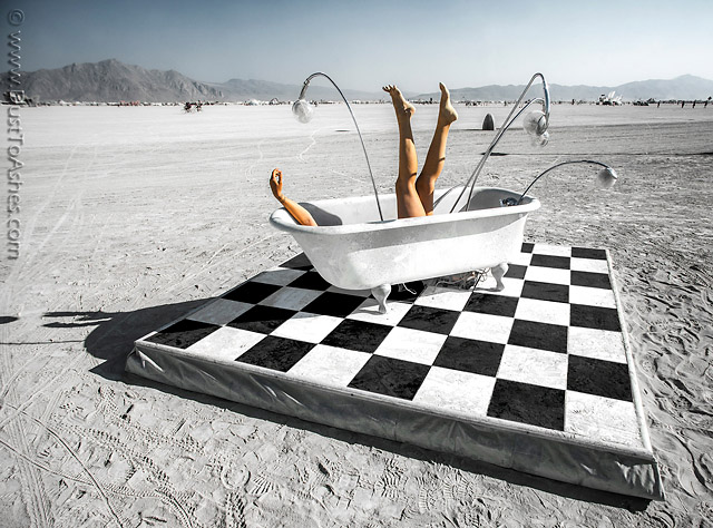 Bathtub in desert