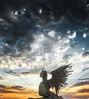 Dramatic sky behind rising Phoenix