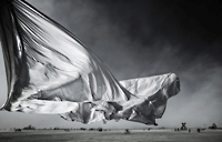 White sheet of cloth in storm